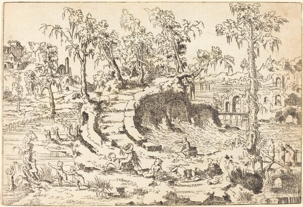 Putti Playing in a Fanciful Landscape