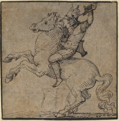 Warrior in Renaissance Armor on a Rearing Horse