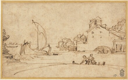 Landscape with Figures by an Estuary with Sailing Boats