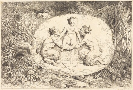 Nymph Supported by Two Satyrs (Nymphe s'asseyant sur les mains de deux satyres)