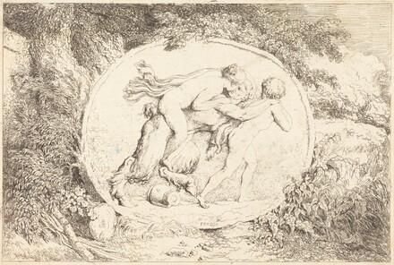 Nymph Astride a Satyr (Jeune fille a califourchon sur un satyre)