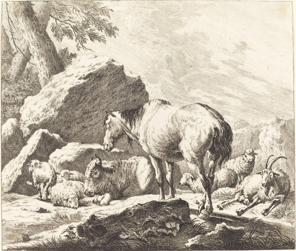 A Horse, Buffalo, Sheep, and Goat in an Italian Landscape
