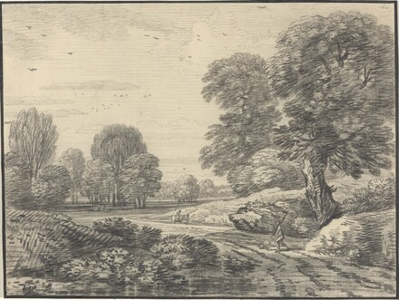 Travelers on a Road in a Wooded Landscape