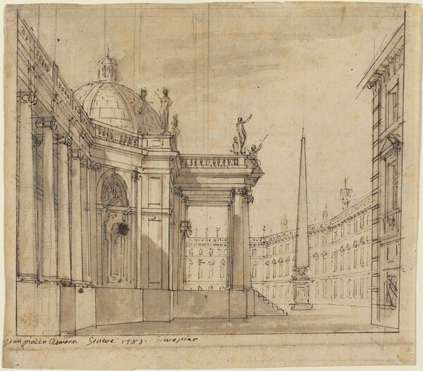 Stage Design: A Piazza with a Domed Church and an Obelisk