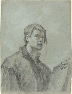 An Artist Holding a Book and Compass