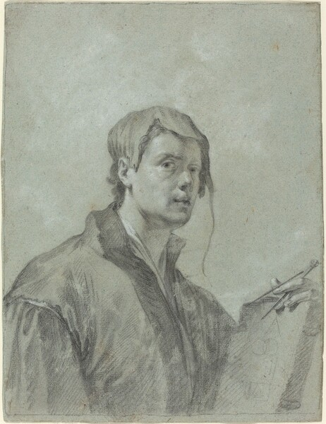 An Artist Holding a Book and Compass