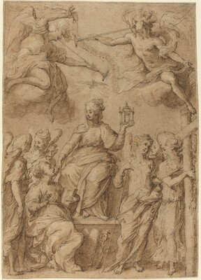 Ecclesia Surrounded by Angels Holding the Instruments of the Passion