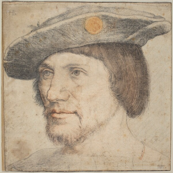 Portrait of a Man Wearing a Hat with a Medallion