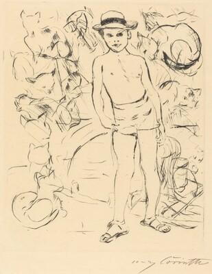 Boy Wearing Bathing-Trunks and Straw Hat (Knabe mit Badehose und Strohhut)