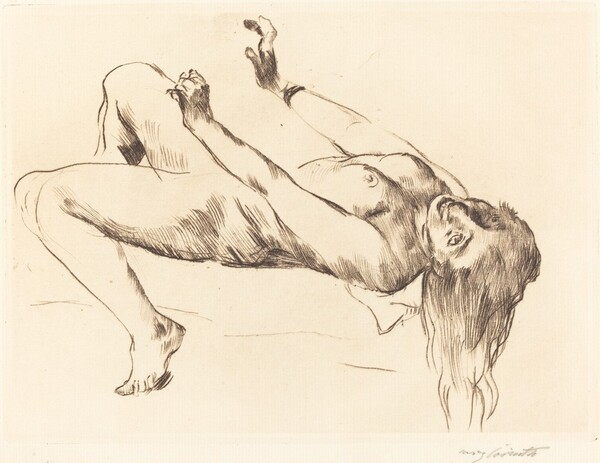 Liegender Weiblicher Akt.—Studie zu Joseph und Potiphar (Reclining Female Nude—Study for Joseph and Potiphar's Wife)