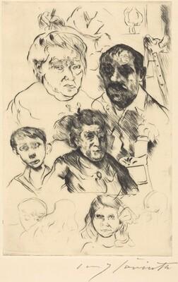 Assorted Heads and Self-Portrait (Verschiedene Köpfe und Selbstbildnis)