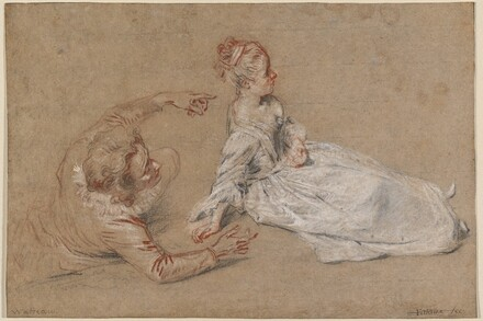 A Man Reclining and a Woman Seated on the Ground