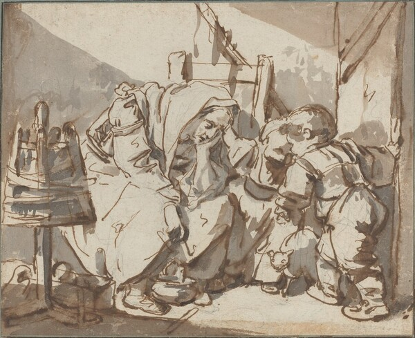 A Tired Woman with Two Children