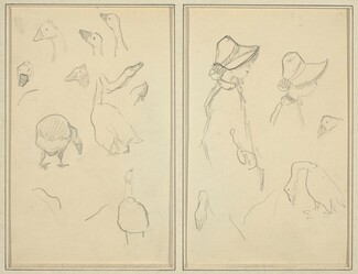 Geese; Girls in Bonnets, Geese [recto]