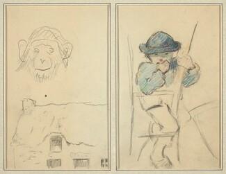 Monkey and Cottage; Little Breton Boy [recto]