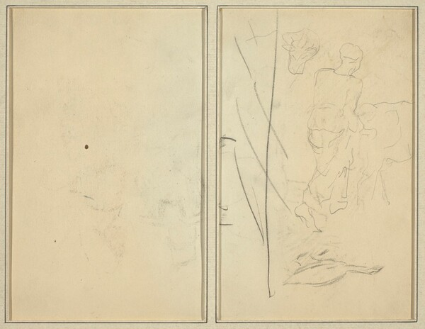 Woman with Cow, and Goose; Counterproof [verso]