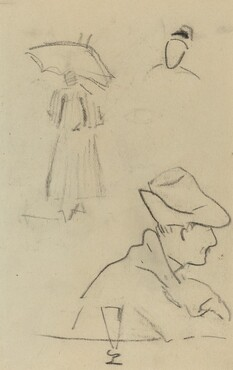 A Person Holding an Umbrella and a Seated Man with a Hat and a Glass [verso]