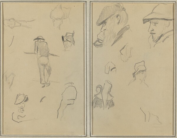 A Man Leaning on a Wall with Five Other Studies; Two Bearded Men Wearing Hats, and Five Other Studies [recto]