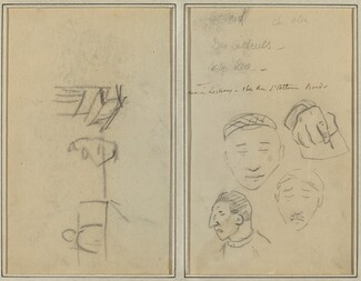 Two Figures and a Bench; Three Studies of Men's Heads and One of a Hand [recto]
