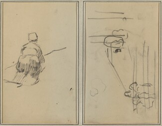A Breton Woman Walking; Sketch with Stairs [verso]