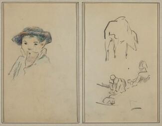 Little Breton Boy; A Pig and a Washerwoman [recto]