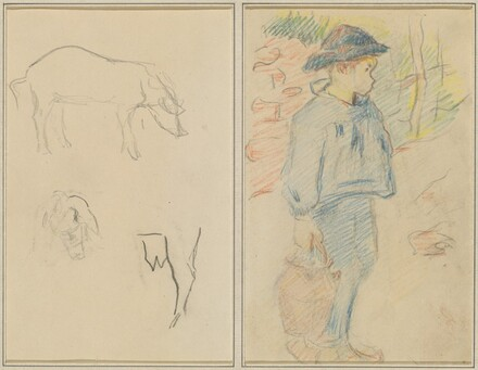 Three Studies of a Pig; Breton Boy Walking with a Jug [recto]