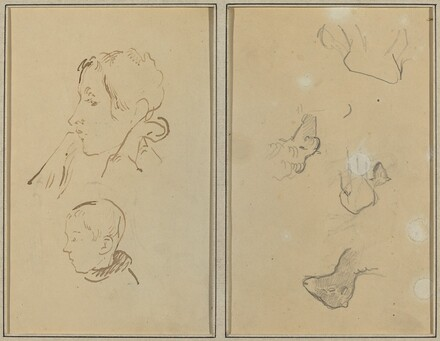 Two Heads; Studies of Sheep [recto]