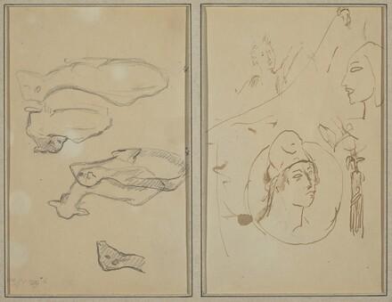 Five Sheep; Four Head Studies [verso]