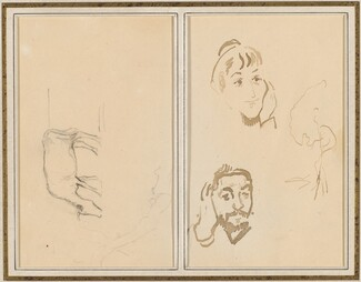 A Grazing Cow; Head of a Woman with Her Hand on Her Cheek, and Head of a Man with His Hand on His Ear [verso]