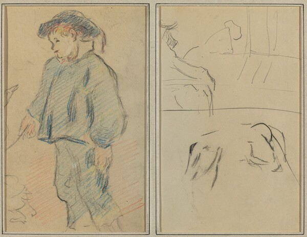 Breton Boy Tending Geese; Cows and a Figure Leaning on a Ledge [verso]