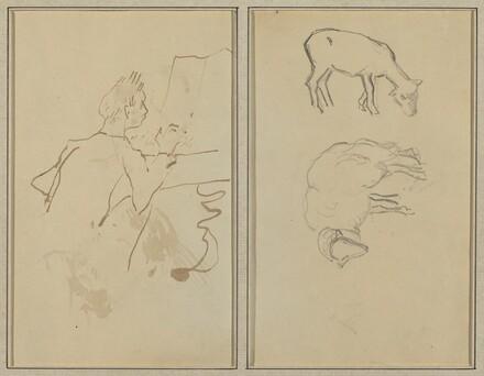 Man Playing Piano; Two Sheep [verso]