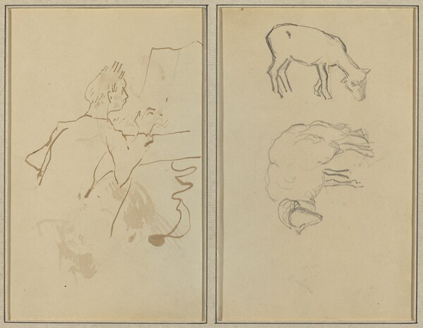 Man Playing Piano; Two Sheep [verso]