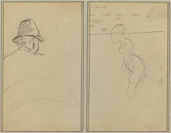 A Head of Man with Hat, Seen from Behind; A Standing Woman [recto]