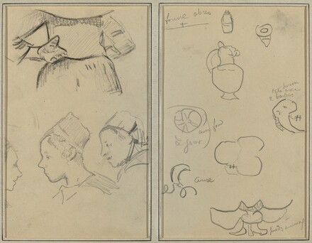 Four Studies of Breton Women; Shapes and Vases [verso]