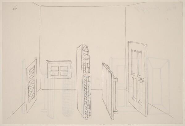 Basket, Table, Door, Window, Mirror, Rug #39 [recto]