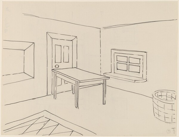 Basket, Table, Door, Window, Mirror, Rug #7 [recto]