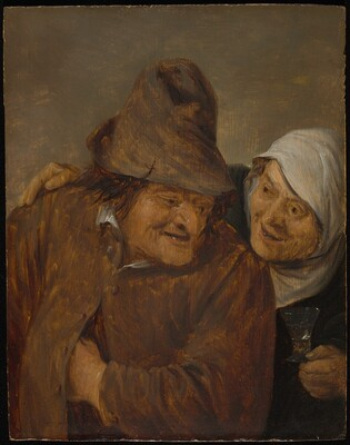 Two Peasants with a Glass of Wine