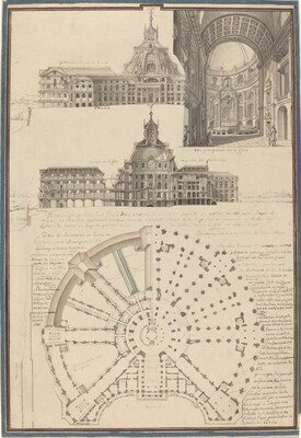 Plan and Three Views of a Circular Church