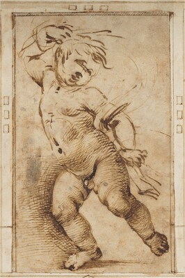 Dancing Putto Holding a Drapery