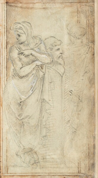 Two Draped Women Standing on Either Side of a Herm