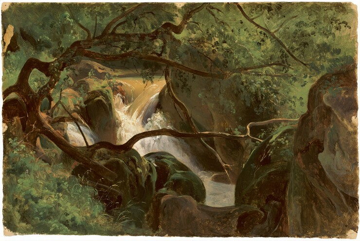 André Giroux, Forest Interior with a Waterfall, Papigno, 1825/1830