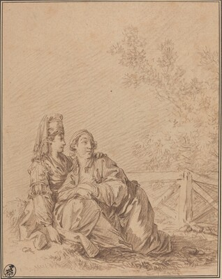 Two Russians Seated in Landscape