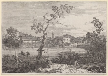 View of a Town on a River Bank