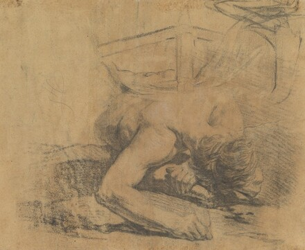 Man Reclining on the Ground and the Corner of a Bed [verso]