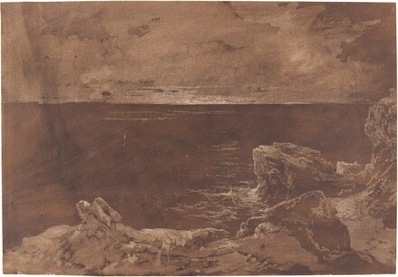 A Rocky Coast by Moonlight