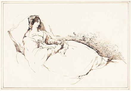 A Woman Reclining on a Cushion