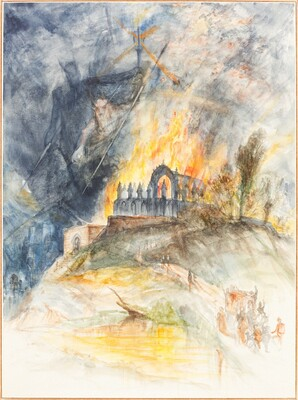 An Ecclesiastic Building in Flames with Demons Above