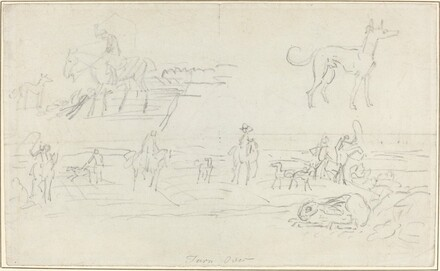 Huntsmen with Hounds and a Crouching Hare [recto]