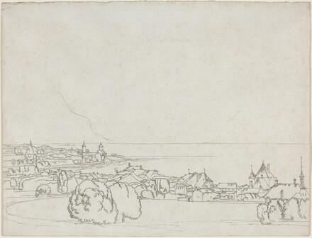 A View of Vevey with La Tour de Peilz in the Distance