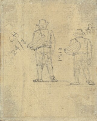 Two Studies of a Figure Holding a Basket [verso]
